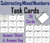 Subtracting Mixed Numbers Task Cards (Unlike Denominators) 4th 5th 6th Grade