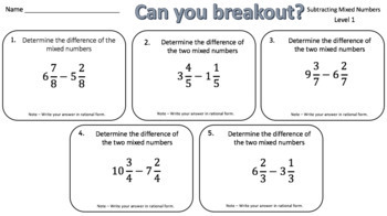 Subtracting Mixed Numbers – Two Breakout Activities!