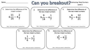 Subtracting Mixed Numbers – Two Breakout Activities!