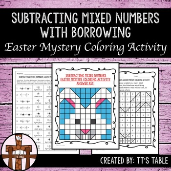 Subtracting Mixed Numbers With Borrowing Easter Mystery Co