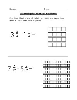 Subtracting Mixed Numbers With Like Denominators Scaffolded for Special Ed