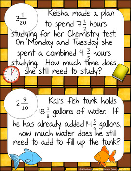 Subtracting Mixed Numbers Word Problems - Math Scavenger Quest