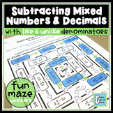 Subtracting Mixed Numbers and Decimals Worksheet