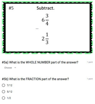 Subtracting Mixed Numbers (no regrouping) - Google Form & Video Lesson