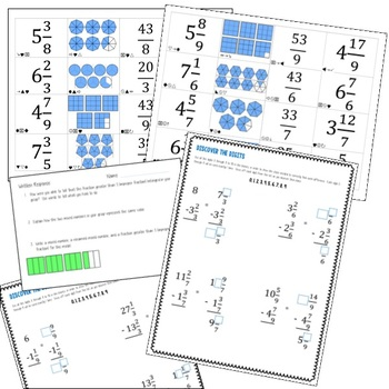 Subtracting Mixed Numbers with Borrowing and Renaming Bundle - 8 Items!