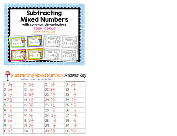 Fraction Task Cards - Subtracting Mixed Numbers with Common Denominators - SCOOT