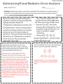 Subtracting Mixed Numbers with Like Denominators Error Analysis {4.NF.B.3}