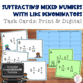 Subtracting Mixed Numbers with Like Denominators Task Cards