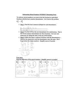 Subtracting Mixed Numbers with NO Renaming Review Notes and Practice Page