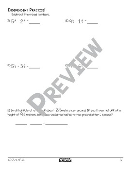 Subtracting Mixed Numbers with Regrouping Math Video and Worksheet