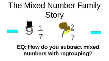 Subtracting Mixed Numbers with Regrouping PPT - The Mixed Numbers Family Story