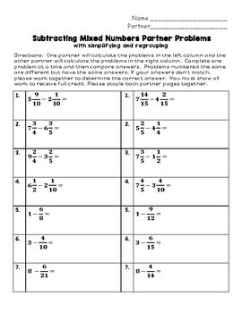 Subtracting Mixed Numbers with Regrouping Partner Problems