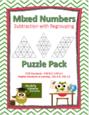 Subtracting Mixed Numbers with Regrouping Puzzle Pack