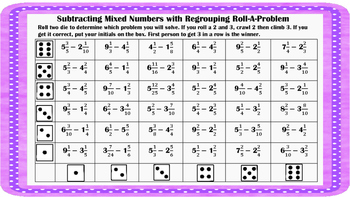 Subtracting Mixed Numbers with Regrouping Roll-A- Number