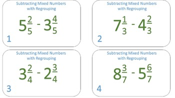 Subtracting Mixed Numbers with Regrouping Task Cards