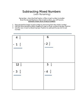 Subtracting Mixed Numbers (with Renaming)