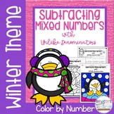 Subtracting Mixed Numbers with Unlike Denominators Color by Number-Winter Theme