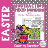 Subtracting Mixed Numbers with Unlike Denominators: Easter Color by Number