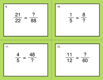 Equivalent Fractions - BINGO and Task Cards