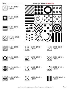Subtracting Money - Coloring Pages   Doodle Art Math