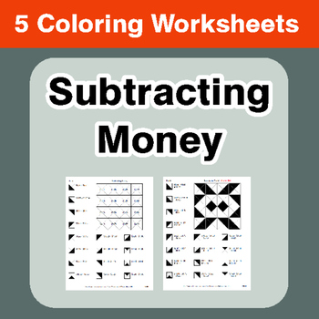 Subtracting Money - Coloring Worksheets