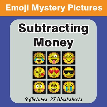 Subtracting Money EMOJI Mystery Pictures