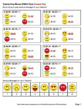 Subtracting Money Emoji Quiz
