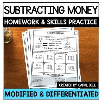 Subtracting Money Homework and Skills Practice