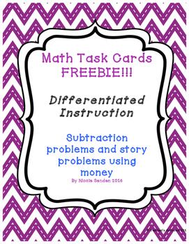 Subtracting Money Story Problem Task Cards Freebie!