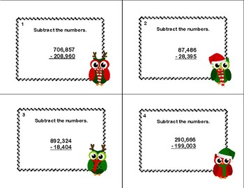 Subtracting Multi-Digit Numbers- CCSS 4.NBT.B.4-Task Cards-Christmas Owls