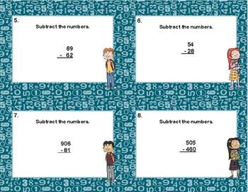Subtracting Multi-Digit Numbers CCSS 4.NBT.B.4 -Task Cards-Grades 4-5