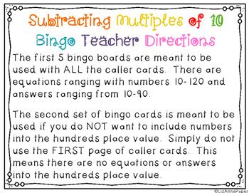Subtracting Multiples of 10 Bingo