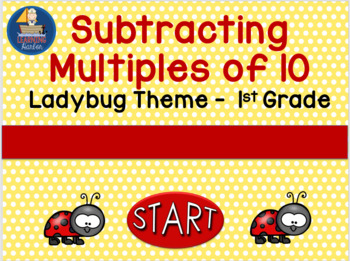 Subtracting Multiples of 10  Ladybug Theme  Self Correcting PowerPoint