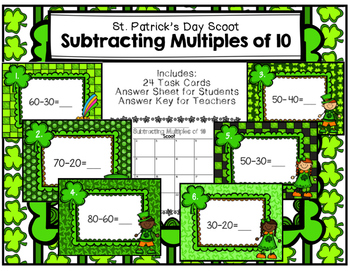 Subtracting Multiples of 10 Scoot St. Patrick's Day