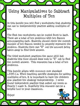 Subtracting Multiples of Ten Using Place Value Rods and Ten Frames