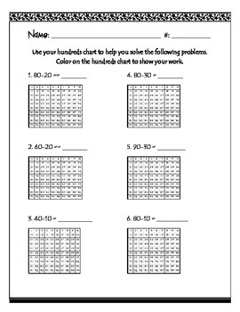 Subtracting Multiples of Ten with Hundreds Chart Worksheet
