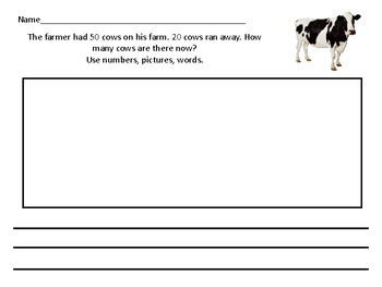 Subtracting Multiples of Tens Differentiated Word Problem Farm Themed