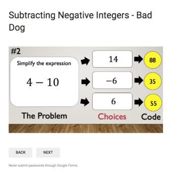Subtracting Negative Integers – Bad Dog Breakout for Google Classroom!
