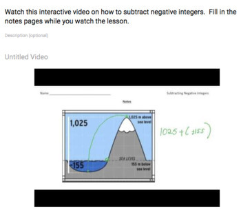 Subtracting Negative Integers (Google Form & Interactive Video Lesson!)