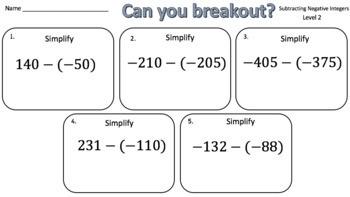 Subtracting Negative Integers – Two Breakout Activities!