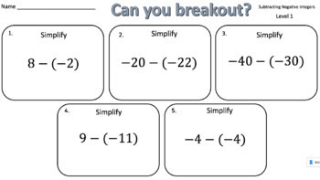 Subtracting Negative Integers – Two Breakout Activities!