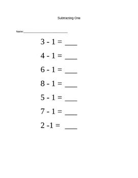 Subtracting Numbers 1 - 9