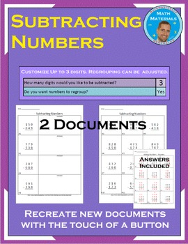 Subtracting Numbers: Customize Regrouping and The Number of Digits