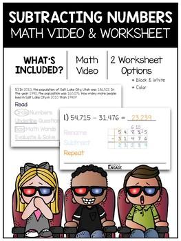 Subtracting Numbers Math Video & Worksheet