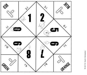 Subtracting Ones Cootie Catcher/Fortune Teller- Perfect for Fact Fluency