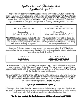 Subtracting Polynomials:  Guided Notes Worksheet and Practice Problems Worksheet