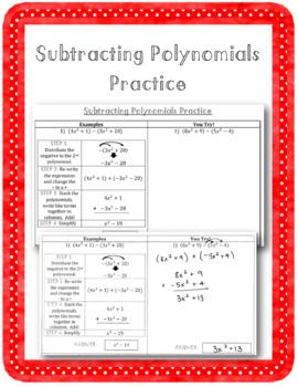 Subtracting Polynomials Practice