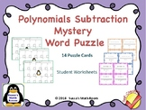 Subtracting Polynomials Puzzle Task Cards - Self Checking