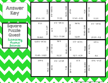 Subtracting Positive Decimals - Square Puzzle Quest