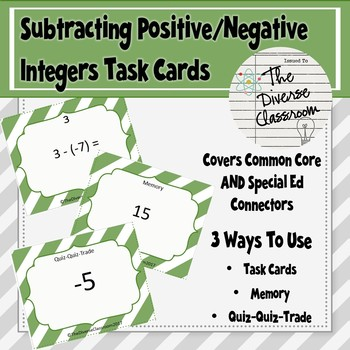 Subtracting Positive/Negative Integers Task Card + 2 Additional Activities